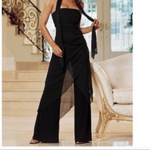 Venus strapless Jumpsuit with chiffon draping